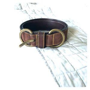 Coach Nubuck Leather Belt Brass Chocolate Brown